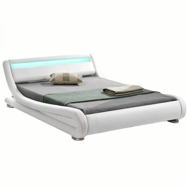Pat modern FILIDA 160x200 cu RGB LED iluminare, alb - Expomob 0