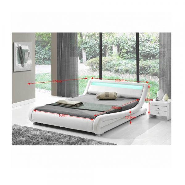 Pat modern FILIDA 160x200 cu RGB LED iluminare, alb - Expomob 1