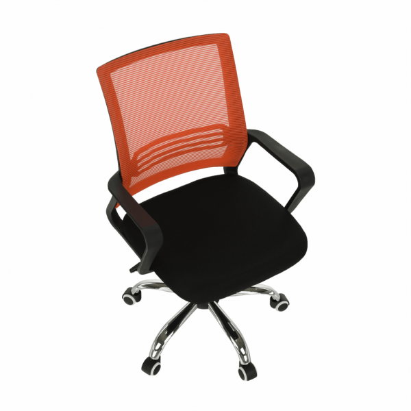 Scaun de birou, mesh portocaliu/material textil negru, APOLO - Expomob 2