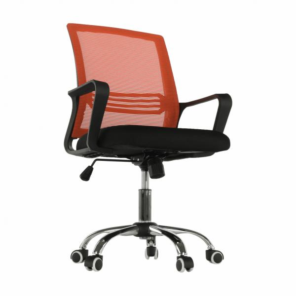 Scaun de birou, mesh portocaliu/material textil negru, APOLO - Expomob 1