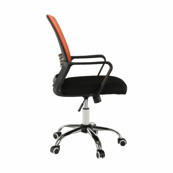 Scaun de birou, mesh portocaliu/material textil negru, APOLO - Expomob 3