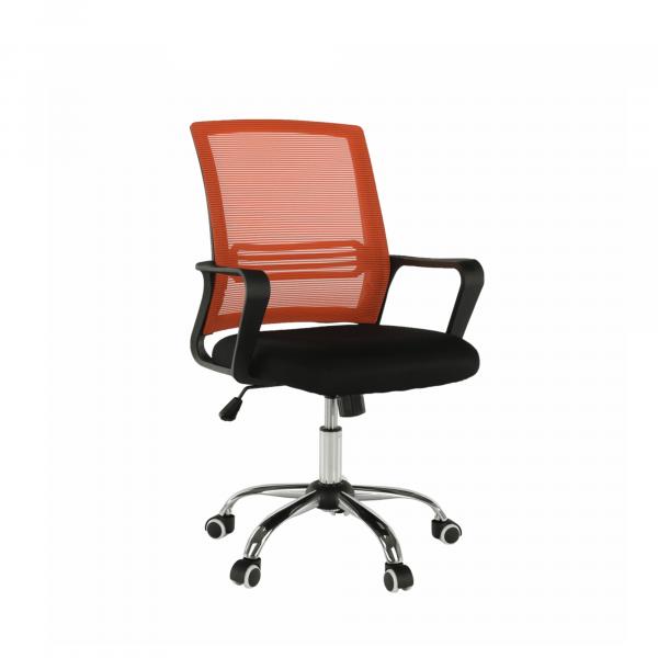 Scaun de birou, mesh portocaliu/material textil negru, APOLO - Expomob 0