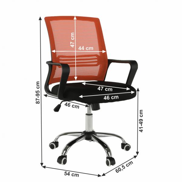 Scaun de birou, mesh portocaliu/material textil negru, APOLO - Expomob 8