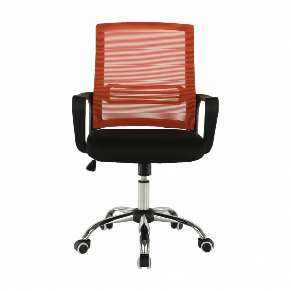 Scaun de birou, mesh portocaliu/material textil negru, APOLO - Expomob 5