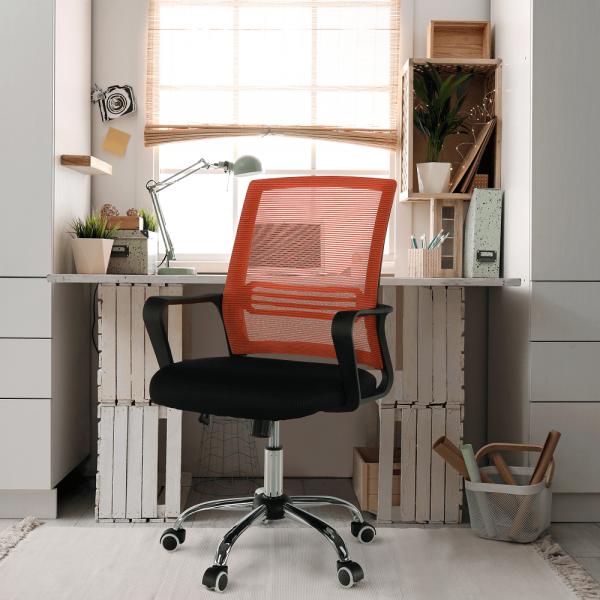 Scaun de birou, mesh portocaliu/material textil negru, APOLO - Expomob 9