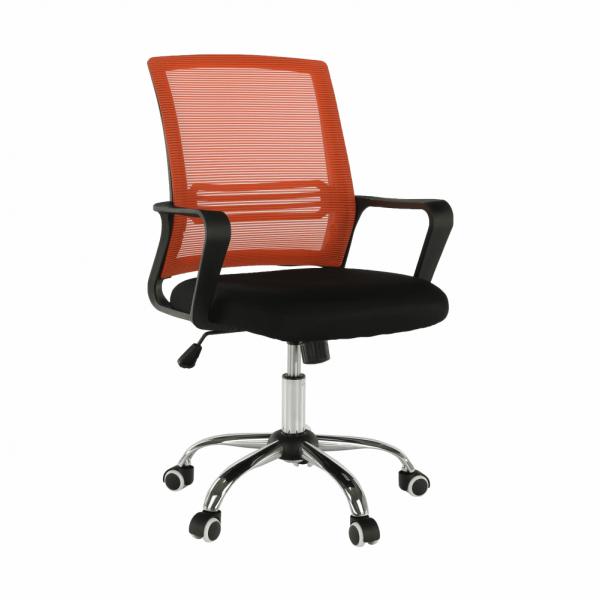 Scaun de birou, mesh portocaliu/material textil negru, APOLO - Expomob 6