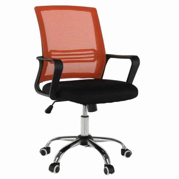 Scaun de birou, mesh portocaliu/material textil negru, APOLO - Expomob 7