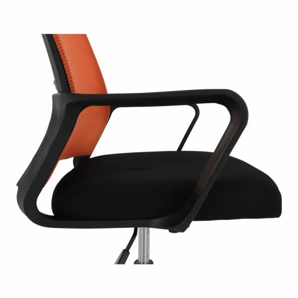 Scaun de birou, mesh portocaliu/material textil negru, APOLO - Expomob 12