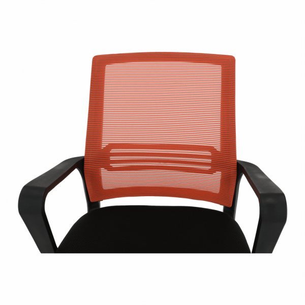 Scaun de birou, mesh portocaliu/material textil negru, APOLO - Expomob 11