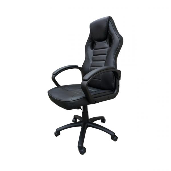 Scaun gaming Arka Chairs B17 allblack, piele anti transpiratie, perforata, ecologica - Expomob 0