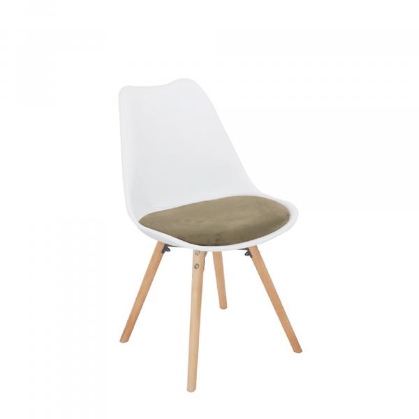 Scaun, material textil de catifea gri-maro Taupe/plastic alb/fag, SEMER NEW - Expomob 0