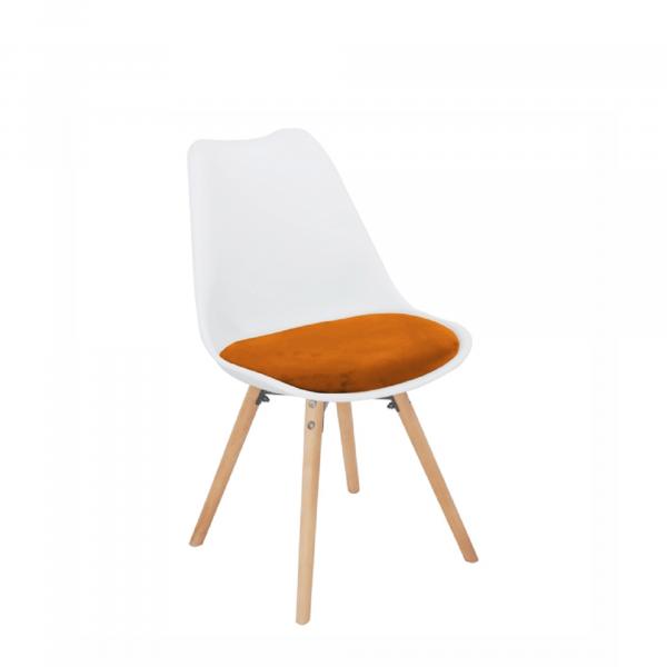 Scaun, material textil de catifea teracotă/plastic alb/fag, SEMER NEW - Expomob 0