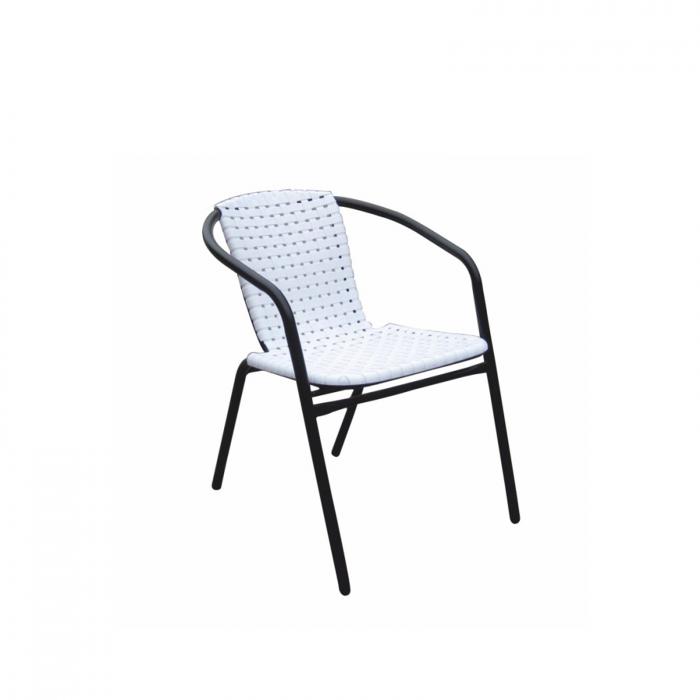 Scaun stivuibil, alb/negru, BERGOLA - Expomob 0