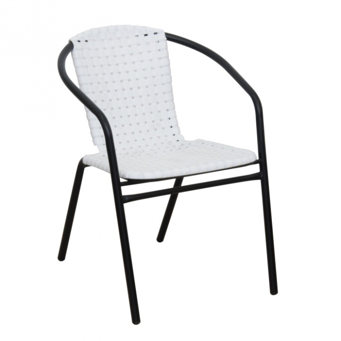 Scaun stivuibil, alb/negru, BERGOLA - Expomob 2