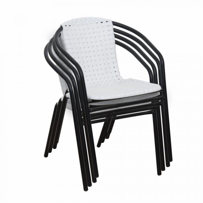 Scaun stivuibil, alb/negru, BERGOLA - Expomob 5