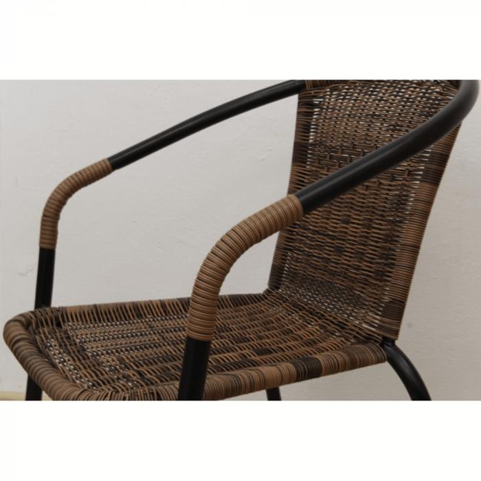 Scaun stivuibil, răchită sintetică maro/metal negru, DOREN - Expomob 6