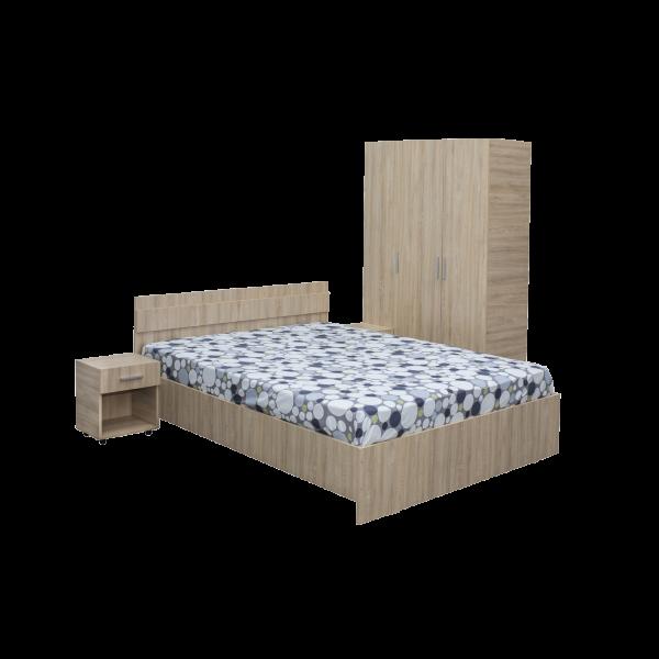 Set Dormitor Corina cu dulap 3 usi, pat si 2 noptiere - ExpoMob 0