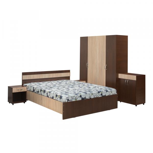 Set Dormitor CORINA, Dulap 4 usi, Pat 160x200, 2 noptiere cu sertar si comoda TV 0