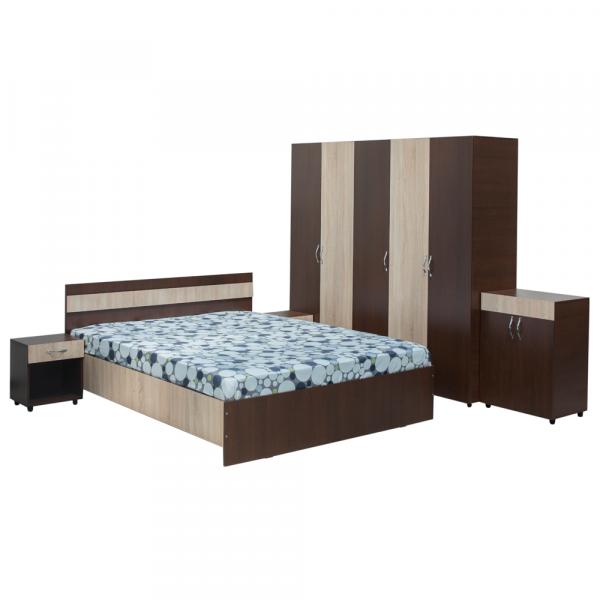 Set Dormitor CORINA, Dulap 5 usi, Pat 160x200, 2 noptiere cu sertar si comoda TV 0