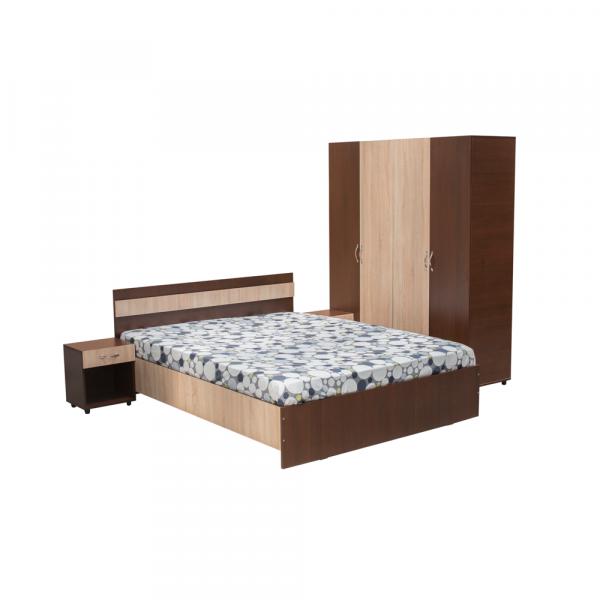 Set Dormitor CORINA, Dulap 4 usi, Pat 160x200 si 2 noptiere cu sertar 0