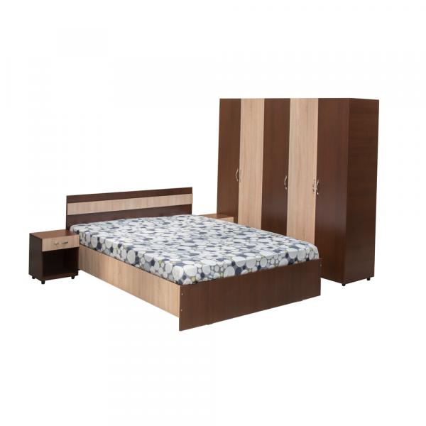 Set Dormitor CORINA, Dulap 5 usi, Pat 160x200 si 2 noptiere cu sertar 0