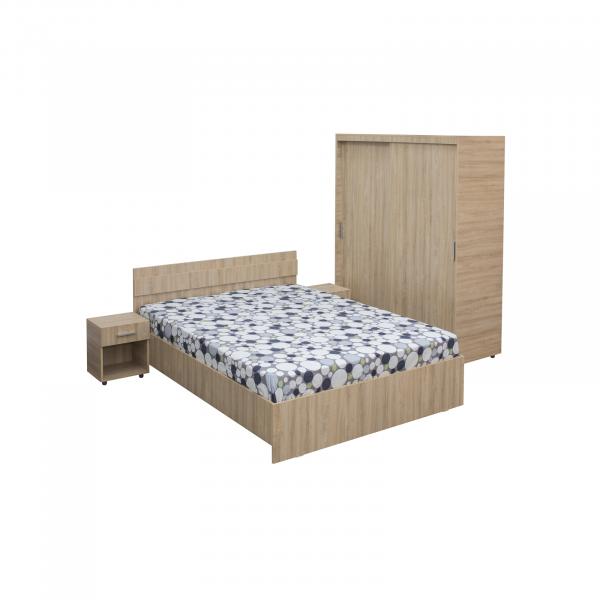 Set Dormitor CORINA, Dulap usi glisante, Pat 160x200 si 2 noptiere cu sertar 0