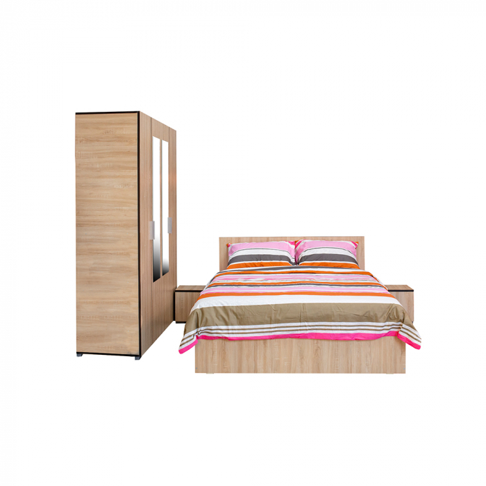Set Complet Dormitor Corinne - Dulap 4 usi - Pat 140x200 - ExpoMob [1]