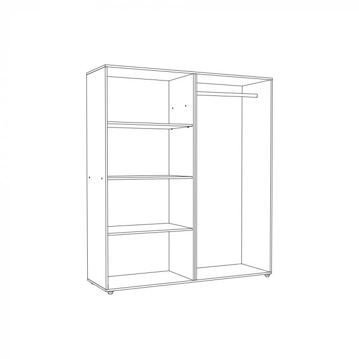 Set Complet Dormitor Corinne - Dulap 4 usi - Pat 140x200 - Comoda - ExpoMob 4