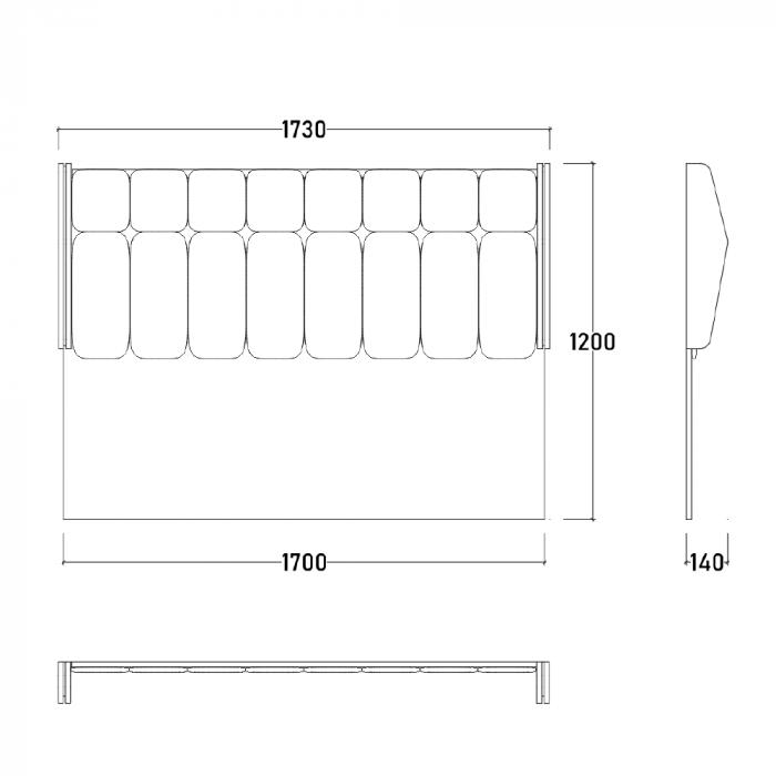 Set Dormitor MANYAS, Pat tapitat 160x200 cu somieră și spațiu depozitare, 5 piese - ExpoMob [12]