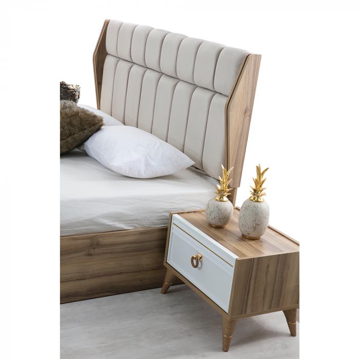 Set Dormitor MANYAS, Pat tapitat 160x200 cu somieră și spațiu depozitare, 5 piese - ExpoMob [8]