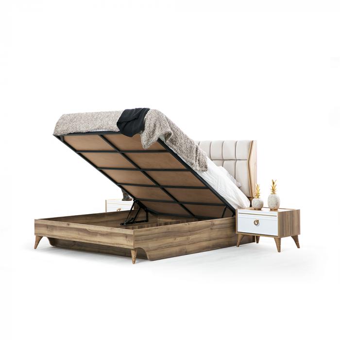 Set Dormitor MANYAS, Pat tapitat 160x200 cu somieră și spațiu depozitare, 5 piese - ExpoMob [3]