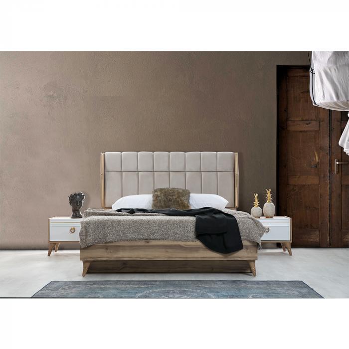 Set Dormitor MANYAS, Pat tapitat 160x200 cu somieră și spațiu depozitare, 5 piese - ExpoMob [2]