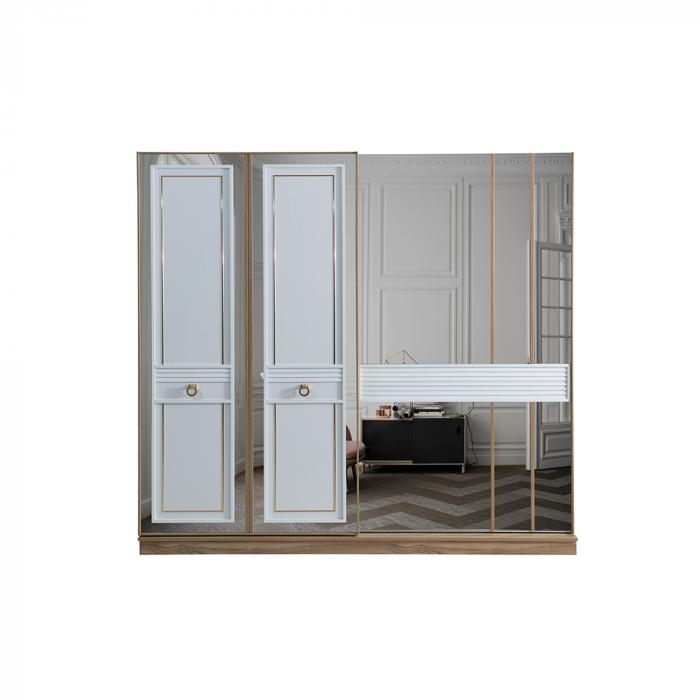 Set Dormitor MANYAS, Pat tapitat 160x200 cu somieră și spațiu depozitare, 5 piese - ExpoMob [5]