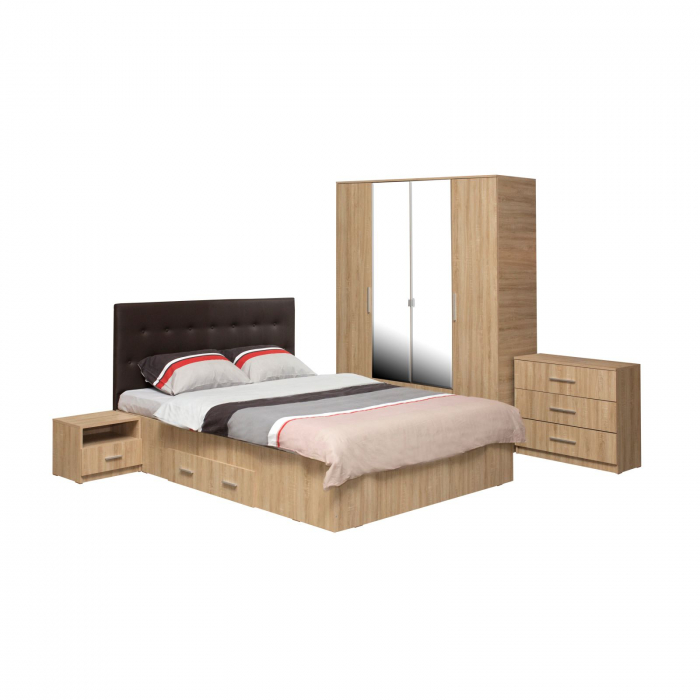 Set Dormitor Complet Ofelia cu Comoda - Dulap 4 usi -  ExpoMob [0]