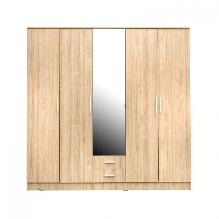 Set Dormitor Complet Ofelia II cu comoda - Dulap 5 usi -  ExpoMob 2