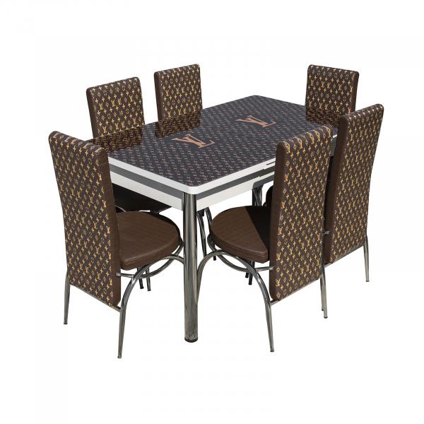 Set masa cu blat de sticla extensibila print LARA cu 6 scaune 3