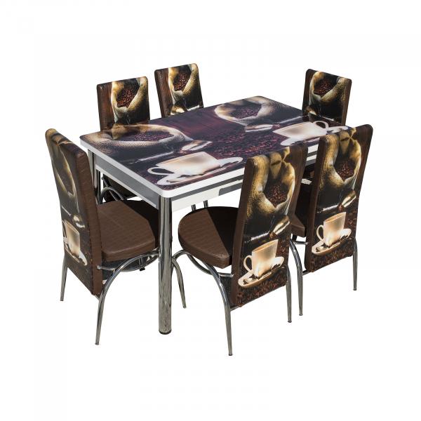 Set masa cu blat de sticla extensibila print LARA cu 6 scaune 6