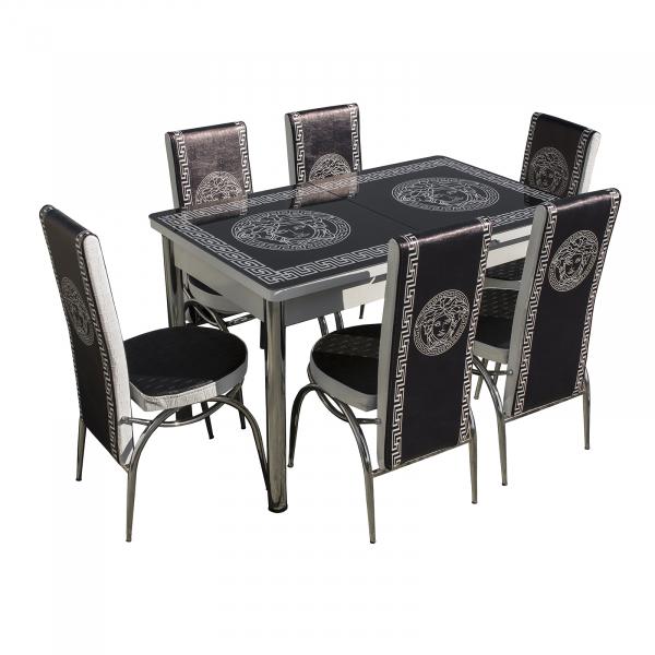Set masa cu blat de sticla extensibila print LARA cu 6 scaune 0