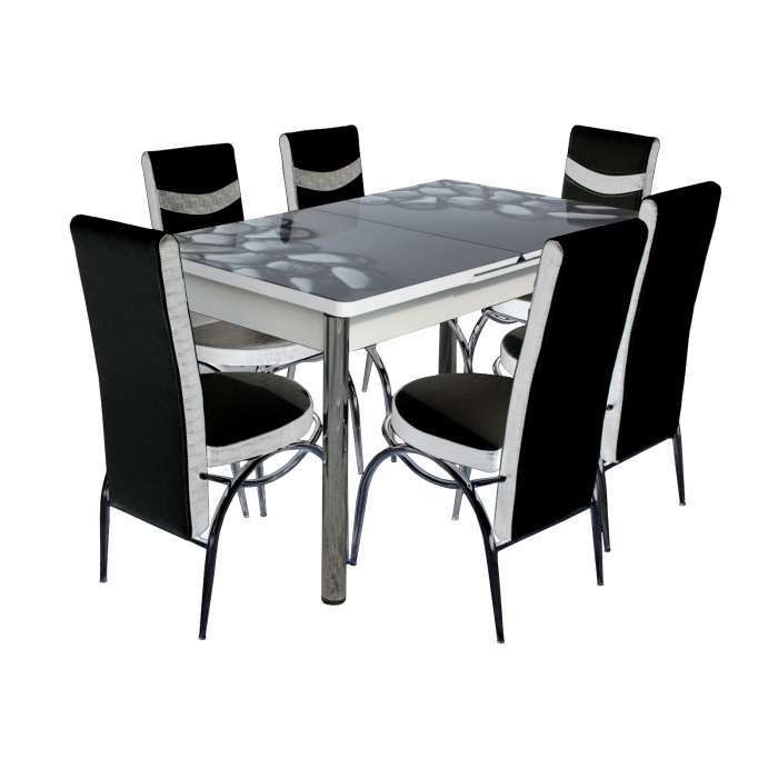 Set masa cu blat de sticla extensibila Lara cu 6 scaune - ExpoMob [0]