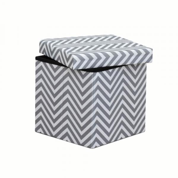 Taburet pliabil Gazmed material textil gri/alb - ExpoMob [2]