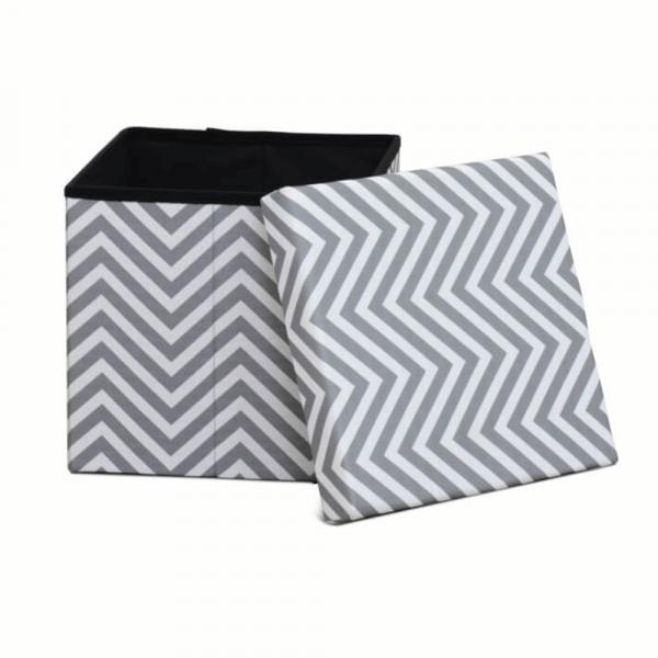 Taburet pliabil Gazmed material textil gri/alb - ExpoMob [1]