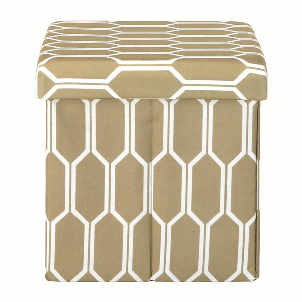Taburet pliabil HAJAR, material textil maro/alb - Expomob 5