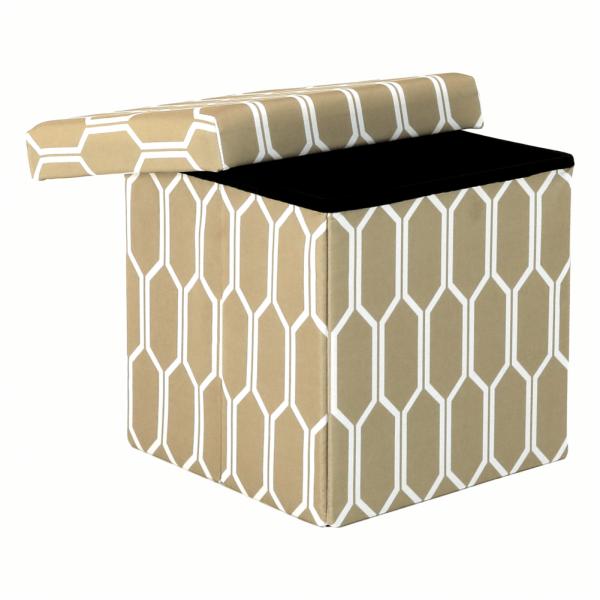Taburet pliabil HAJAR, material textil maro/alb - Expomob 8