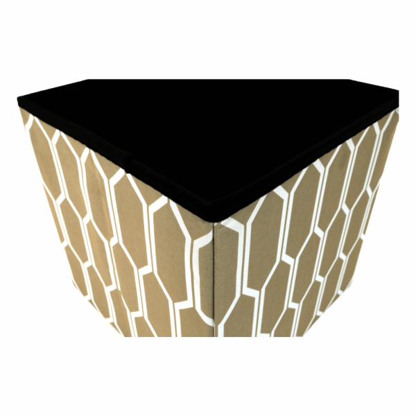 Taburet pliabil HAJAR, material textil maro/alb - Expomob 2