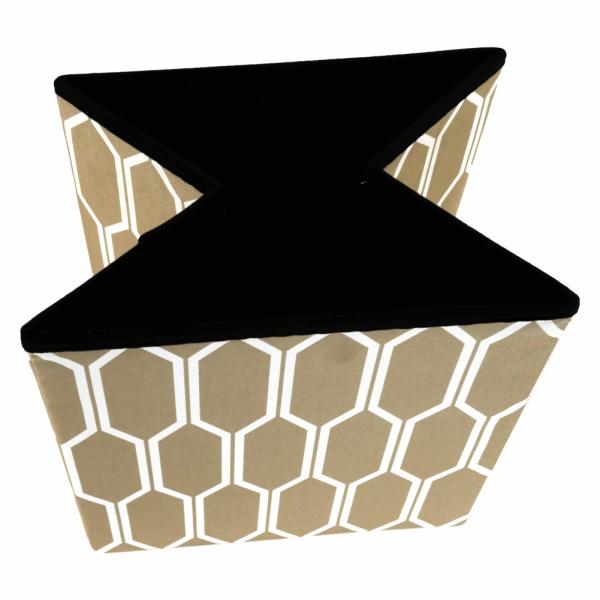 Taburet pliabil HAJAR, material textil maro/alb - Expomob 4