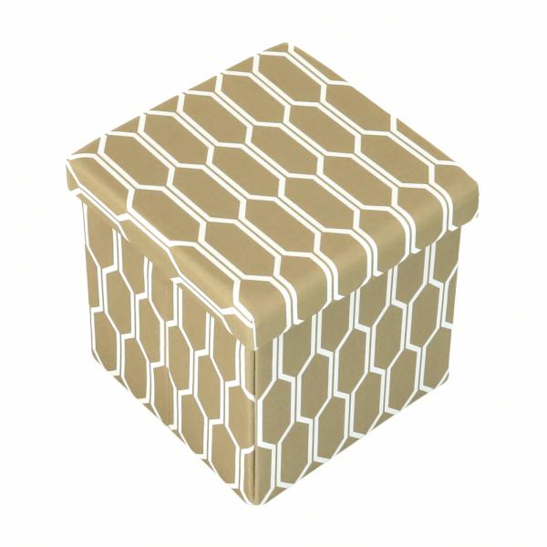 Taburet pliabil HAJAR, material textil maro/alb - Expomob 1