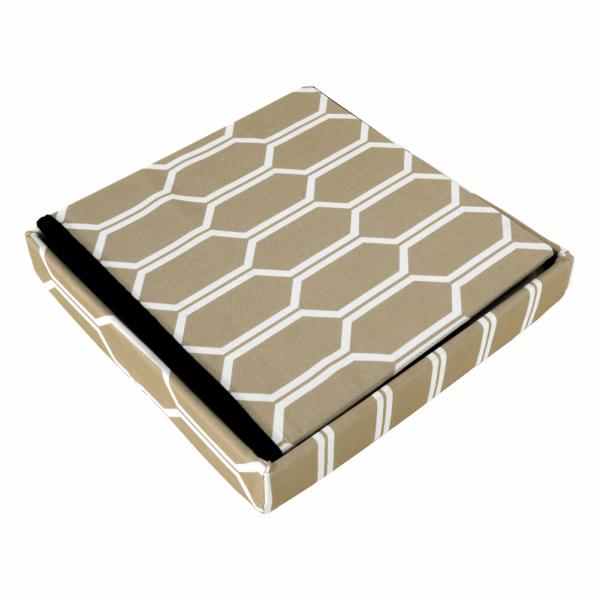 Taburet pliabil HAJAR, material textil maro/alb - Expomob 7
