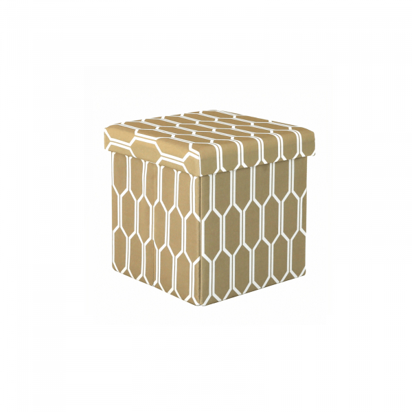 Taburet pliabil HAJAR, material textil maro/alb - Expomob 0