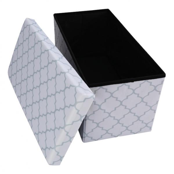 Taburet pliabil KABALA, material textil alb/gri - Expomob 5