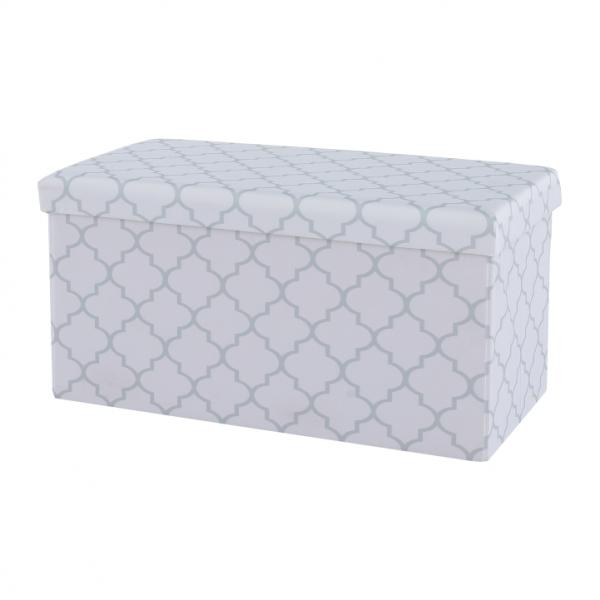 Taburet pliabil KABALA, material textil alb/gri - Expomob 1